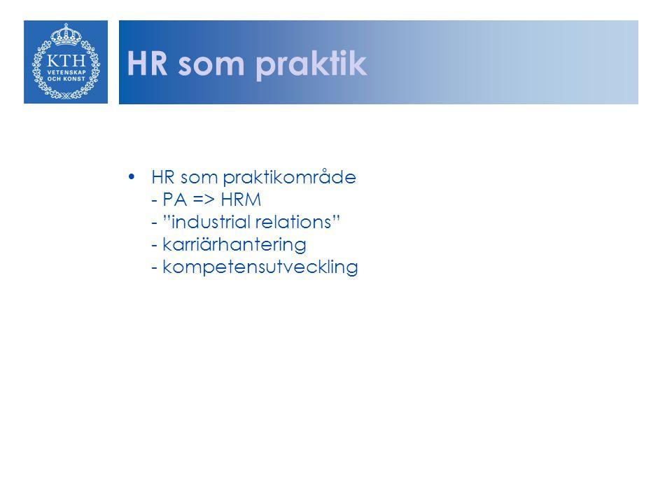 """HR som praktik HR som praktikområde - PA => HRM - """"industrial relations"""" - karriärhantering - kompetensutveckling"""