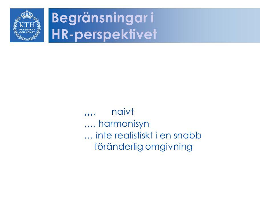 ….naivt … …. harmonisyn … inte realistiskt i en snabb föränderlig omgivning Begränsningar i HR-perspektivet