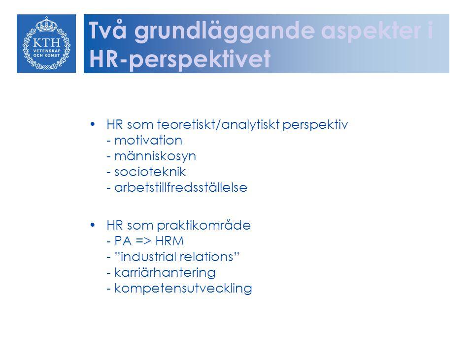 Två grundläggande aspekter i HR-perspektivet HR som teoretiskt/analytiskt perspektiv - motivation - människosyn - socioteknik - arbetstillfredsställel