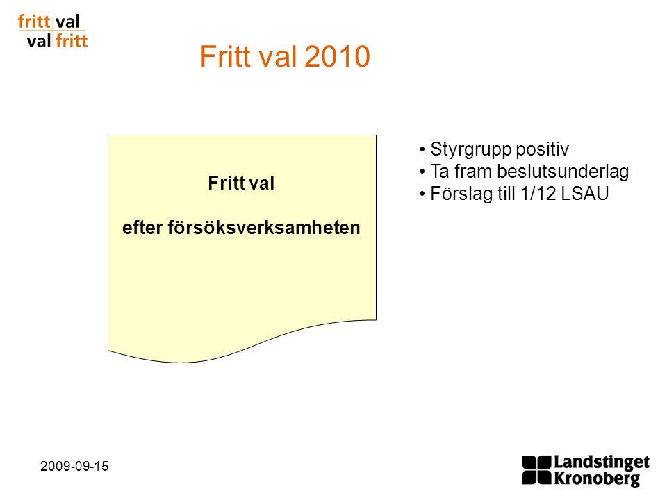 2009-09-15 Fritt val efter försöksverksamheten Styrgrupp positiv Ta fram beslutsunderlag Förslag till 1/12 LSAU Fritt val 2010