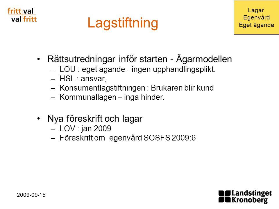 2009-09-15 Lagstiftning Rättsutredningar inför starten - Ägarmodellen –LOU : eget ägande - ingen upphandlingsplikt.