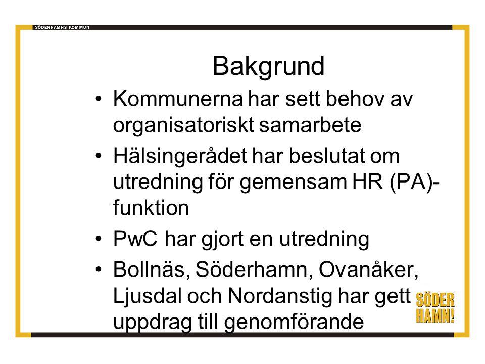 Bakgrund Kommunerna har sett behov av organisatoriskt samarbete Hälsingerådet har beslutat om utredning för gemensam HR (PA)- funktion PwC har gjort en utredning Bollnäs, Söderhamn, Ovanåker, Ljusdal och Nordanstig har gett uppdrag till genomförande