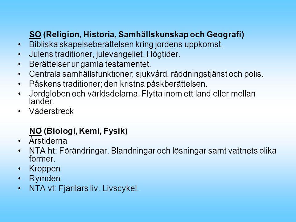 SO (Religion, Historia, Samhällskunskap och Geografi) Bibliska skapelseberättelsen kring jordens uppkomst.