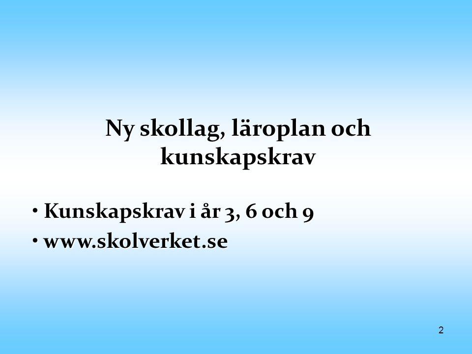 2 Ny skollag, läroplan och kunskapskrav Kunskapskrav i år 3, 6 och 9 Kunskapskrav i år 3, 6 och 9 www.skolverket.se www.skolverket.se
