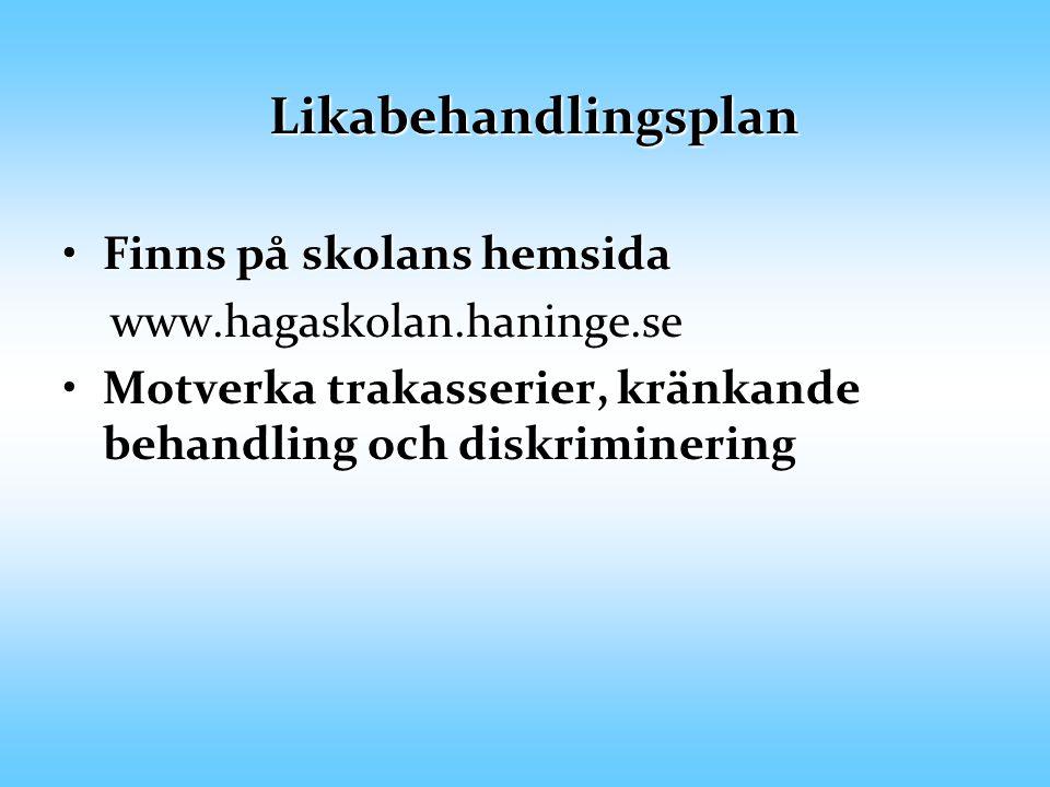 Trygghet och trivsel Skolans trivselregler utgår från Likabehandlingsplanen.Skolans trivselregler utgår från Likabehandlingsplanen.
