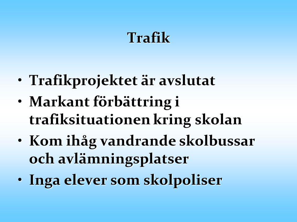 Trafik Trafikprojektet är avslutatTrafikprojektet är avslutat Markant förbättring i trafiksituationen kring skolanMarkant förbättring i trafiksituatio