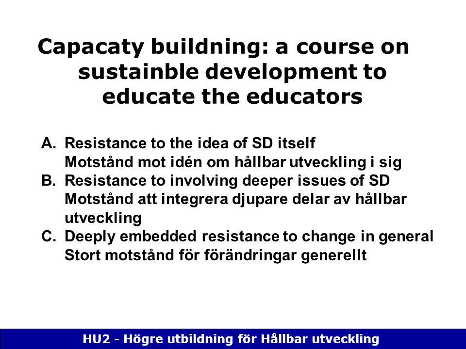 HU2 - Högre utbildning för Hållbar utveckling Capacaty buildning: a course on sustainble development to educate the educators A.Resistance to the idea