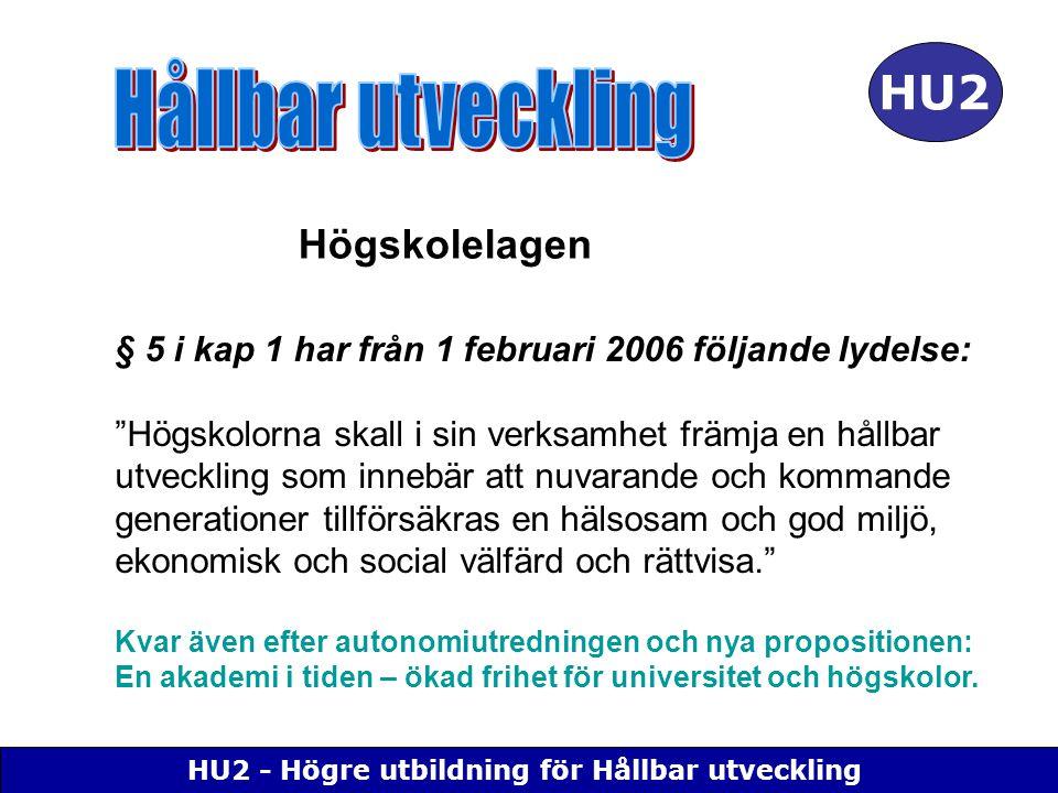 """HU2 - Högre utbildning för Hållbar utveckling HU2 § 5 i kap 1 har från 1 februari 2006 följande lydelse: """"Högskolorna skall i sin verksamhet främja en"""