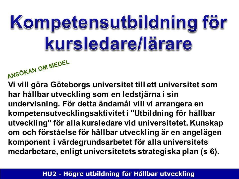 HU2 - Högre utbildning för Hållbar utveckling Vi vill göra Göteborgs universitet till ett universitet som har hållbar utveckling som en ledstjärna i sin undervisning.