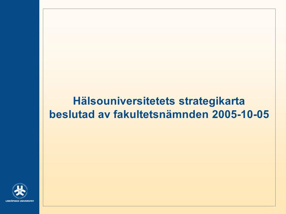 1 Hälsouniversitetets strategikarta beslutad av fakultetsnämnden 2005-10-05