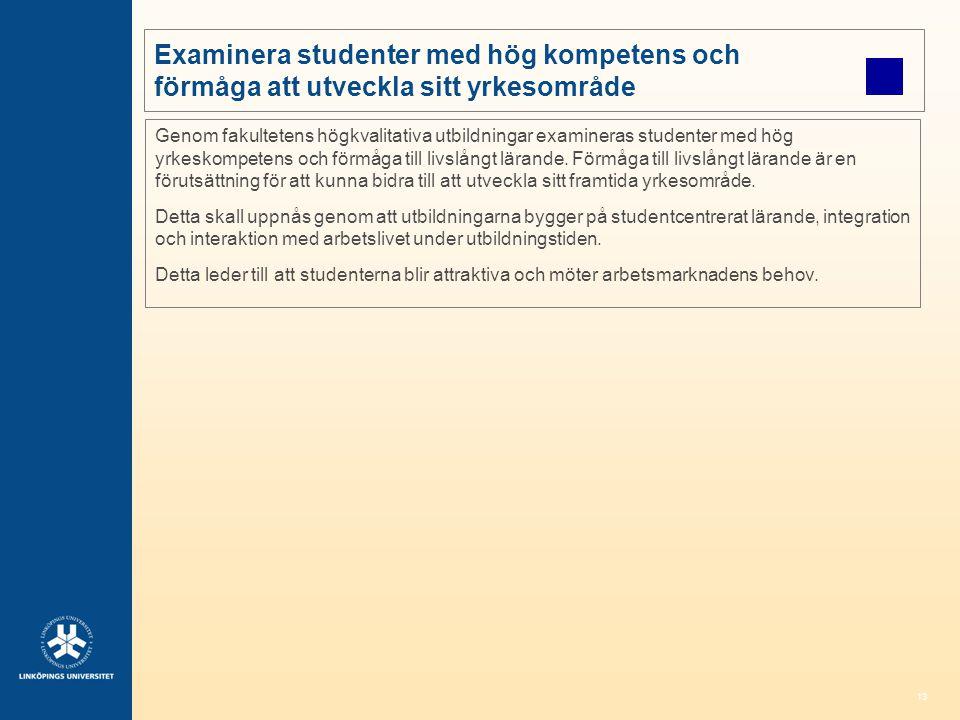 13 Examinera studenter med hög kompetens och förmåga att utveckla sitt yrkesområde Genom fakultetens högkvalitativa utbildningar examineras studenter