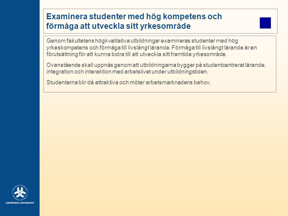 11 Examinera studenter med hög kompetens och förmåga att utveckla sitt yrkesområde Genom fakultetens högkvalitativa utbildningar examineras studenter