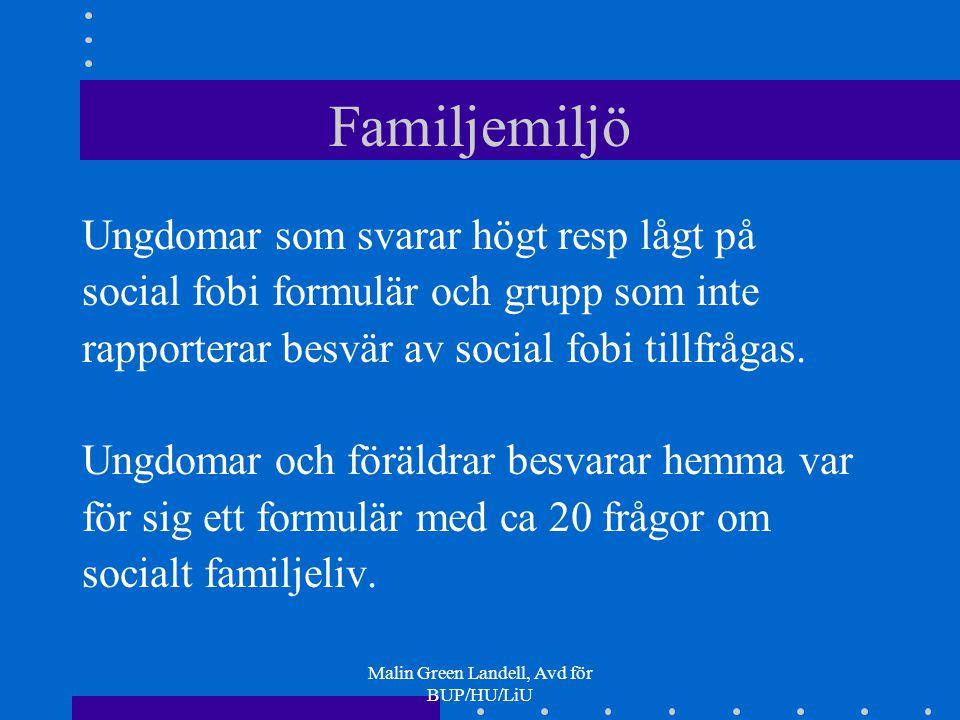 Malin Green Landell, Avd för BUP/HU/LiU Familjemiljö Ungdomar som svarar högt resp lågt på social fobi formulär och grupp som inte rapporterar besvär