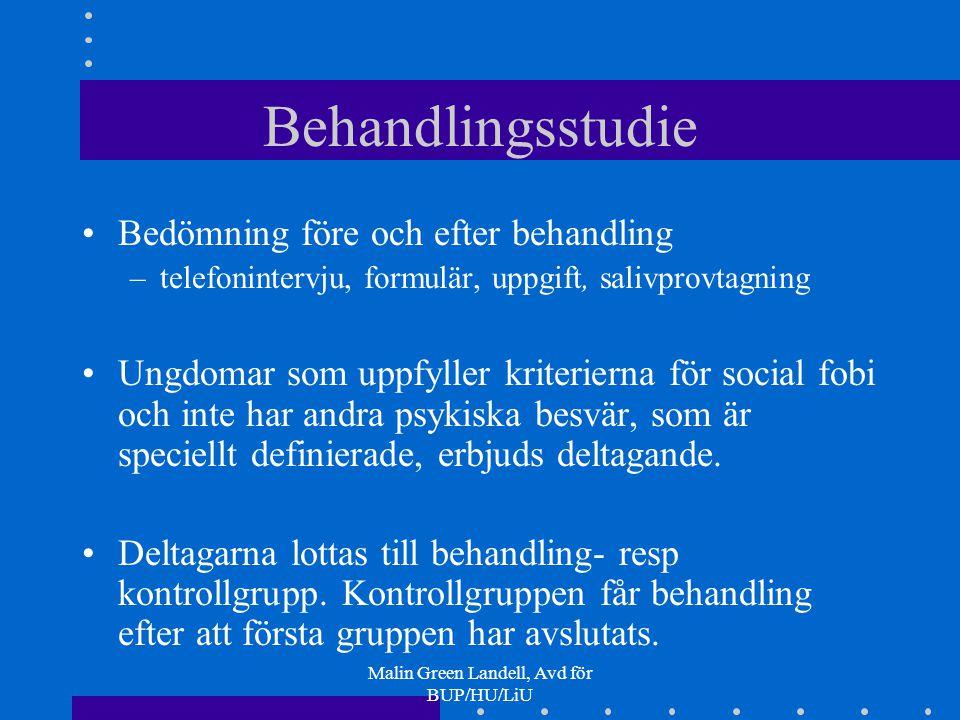 Malin Green Landell, Avd för BUP/HU/LiU Behandlingsstudie Bedömning före och efter behandling –telefonintervju, formulär, uppgift, salivprovtagning Un