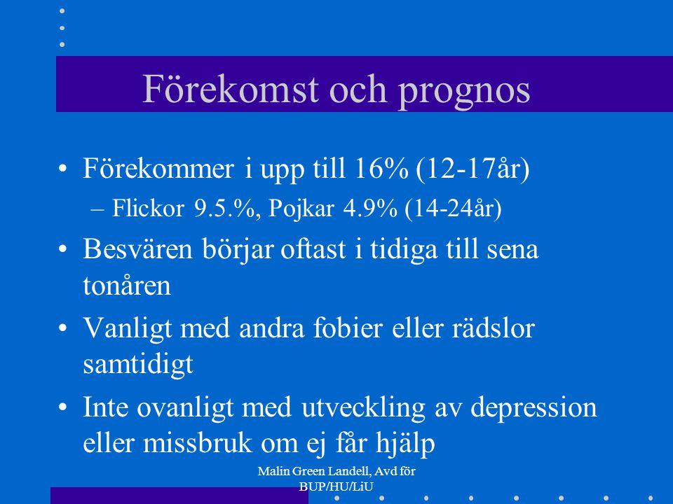 Malin Green Landell, Avd för BUP/HU/LiU Förekomst och prognos Förekommer i upp till 16% (12-17år) –Flickor 9.5.%, Pojkar 4.9% (14-24år) Besvären börja