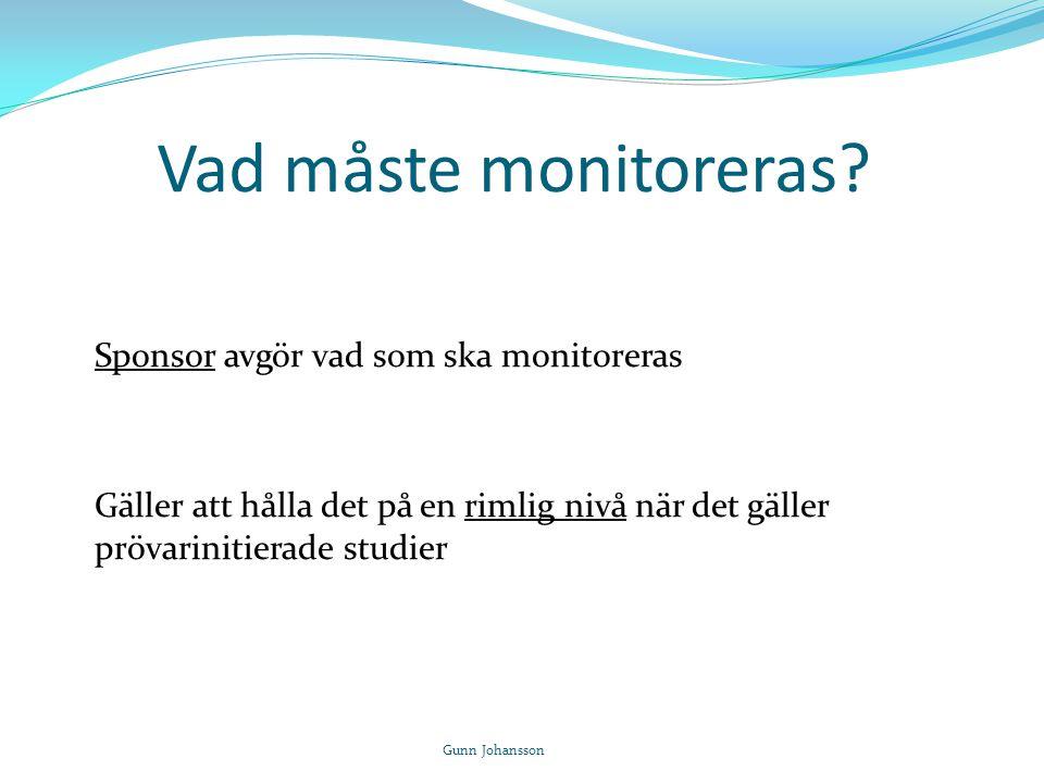 Vad måste monitoreras? Sponsor avgör vad som ska monitoreras Gäller att hålla det på en rimlig nivå när det gäller prövarinitierade studier Gunn Johan