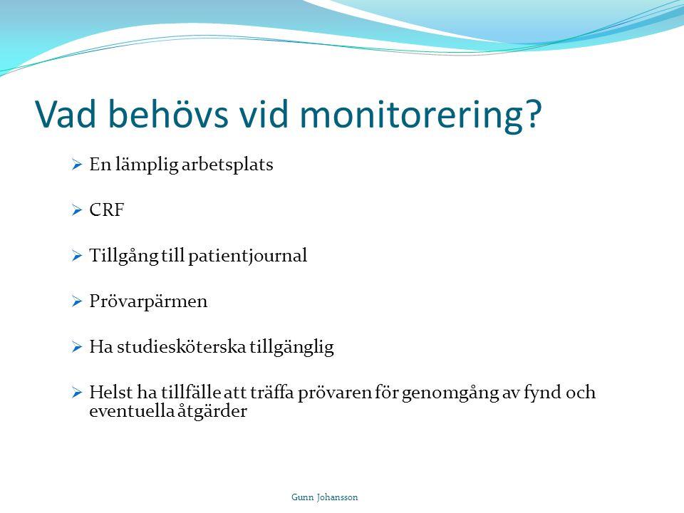 Vad behövs vid monitorering?  En lämplig arbetsplats  CRF  Tillgång till patientjournal  Prövarpärmen  Ha studiesköterska tillgänglig  Helst ha