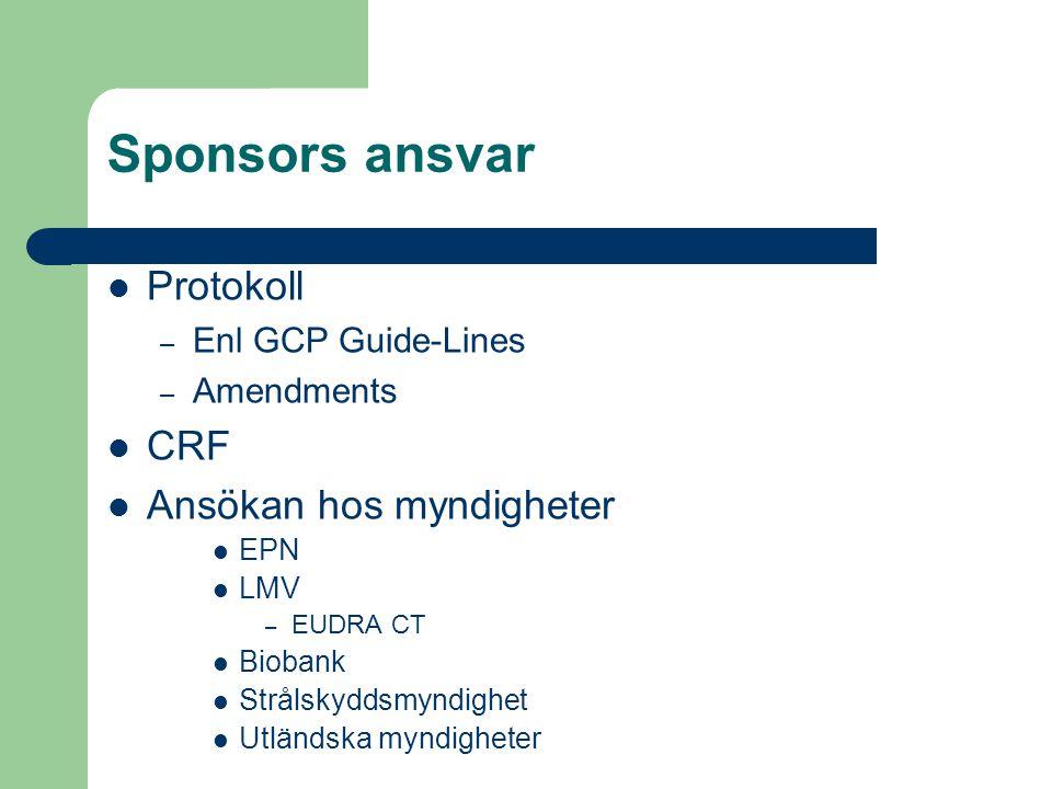 Sponsors ansvar Protokoll – Enl GCP Guide-Lines – Amendments CRF Ansökan hos myndigheter EPN LMV – EUDRA CT Biobank Strålskyddsmyndighet Utländska myn