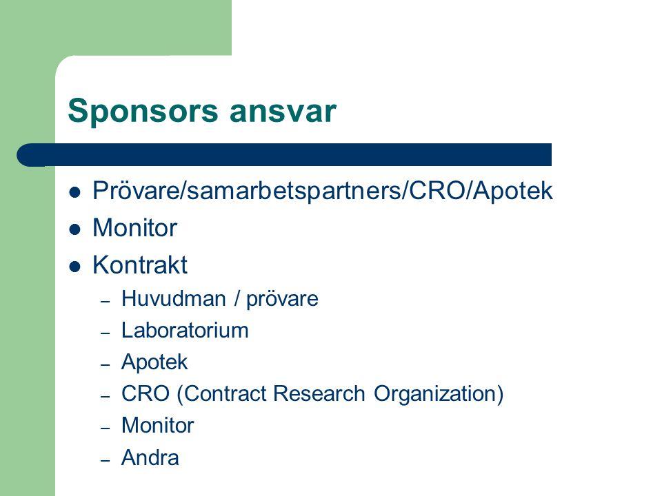 Sponsors ansvar Prövare/samarbetspartners/CRO/Apotek Monitor Kontrakt – Huvudman / prövare – Laboratorium – Apotek – CRO (Contract Research Organizati