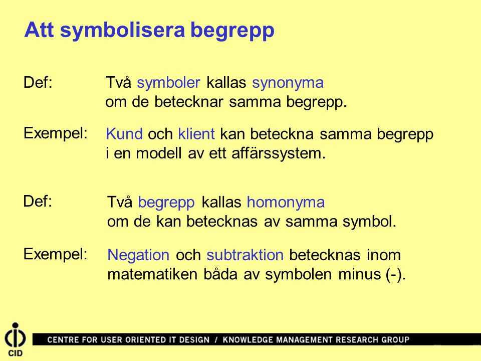 Att symbolisera begrepp Två symboler kallas synonymaDef: Två begrepp kallas homonyma om de betecknar samma begrepp.