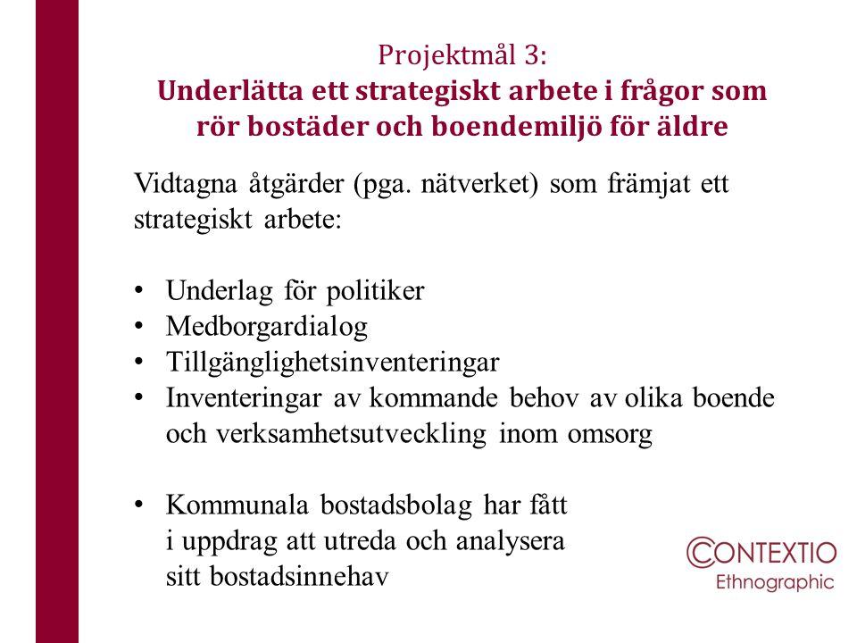 Vidtagna åtgärder (pga. nätverket) som främjat ett strategiskt arbete: Underlag för politiker Medborgardialog Tillgänglighetsinventeringar Inventering