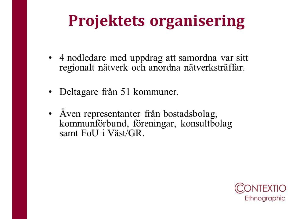 Projektets organisering 4 nodledare med uppdrag att samordna var sitt regionalt nätverk och anordna nätverksträffar. Deltagare från 51 kommuner. Även