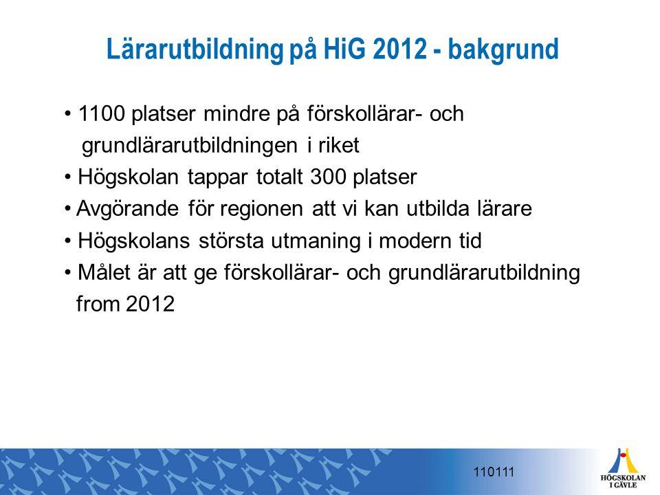 Lärarutbildning på HiG 2012 - bakgrund 1100 platser mindre på förskollärar- och grundlärarutbildningen i riket Högskolan tappar totalt 300 platser Avg