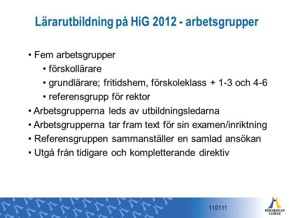 Lärarutbildning på HiG 2012 - arbetsgrupper Fem arbetsgrupper förskollärare grundlärare; fritidshem, förskoleklass + 1-3 och 4-6 referensgrupp för rek