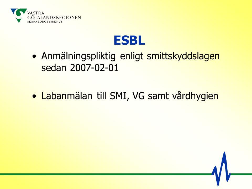 ESBL Anmälningspliktig enligt smittskyddslagen sedan 2007-02-01 Labanmälan till SMI, VG samt vårdhygien