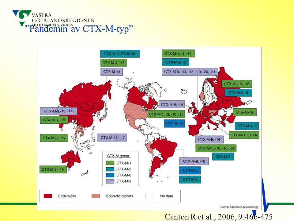"""""""Pandemin av CTX-M-typ"""" Canton R et al., 2006, 9:466-475"""