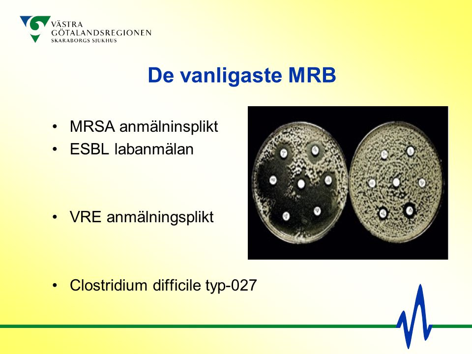 De vanligaste MRB MRSA anmälninsplikt ESBL labanmälan VRE anmälningsplikt Clostridium difficile typ-027