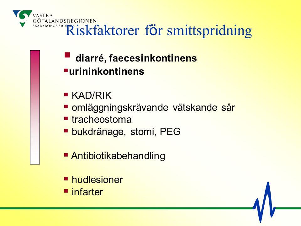  diarré, faecesinkontinens  urininkontinens  KAD/RIK  omläggningskrävande vätskande sår  tracheostoma  bukdränage, stomi, PEG  Antibiotikabehan