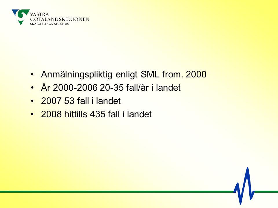 Anmälningspliktig enligt SML from. 2000 År 2000-2006 20-35 fall/år i landet 2007 53 fall i landet 2008 hittills 435 fall i landet
