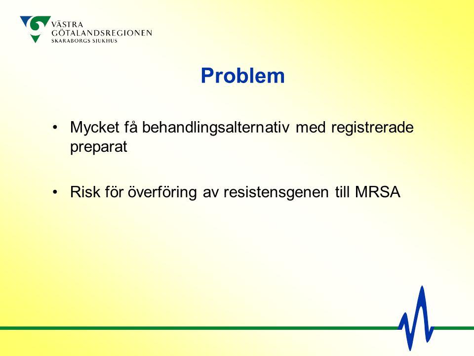 Problem Mycket få behandlingsalternativ med registrerade preparat Risk för överföring av resistensgenen till MRSA