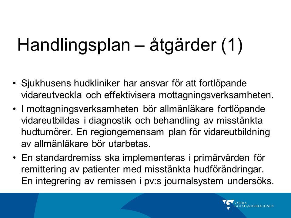 Handlingsplan – åtgärder (1) Sjukhusens hudkliniker har ansvar för att fortlöpande vidareutveckla och effektivisera mottagningsverksamheten. I mottagn
