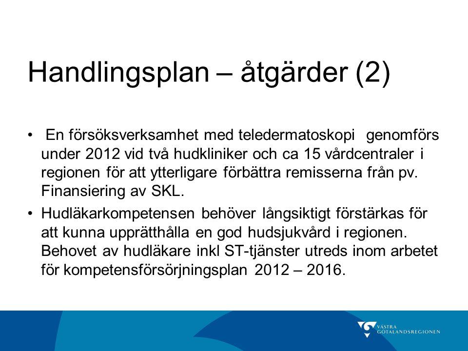 Handlingsplan – åtgärder (2) En försöksverksamhet med teledermatoskopi genomförs under 2012 vid två hudkliniker och ca 15 vårdcentraler i regionen för