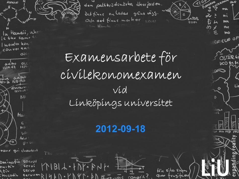 Examensarbete för civilekonomexamen vid Linköpings universitet 2012-09-18
