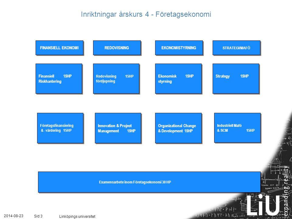 2014-08-23 Linköpings universitet Sid 3 3 Ekonomisk 15HP styrning Ekonomisk 15HP styrning Strategy 15HP Redovisning 15HP fördjupning Redovisning 15HP fördjupning Finansiell 15HP Riskhantering Finansiell 15HP Riskhantering Innovation & Project Management 15HP Innovation & Project Management 15HP Företagsfinansiering & -värdering 15HP Företagsfinansiering & -värdering 15HP Examensarbete inom Företagsekonomi 30 HP FINANSIELL EKONOMI REDOVISNING EKONOMISTYRNING STRATEGI/MAFÖ Inriktningar årskurs 4 - Företagsekonomi Industriell Mafö & SCM15HP Industriell Mafö & SCM15HP Organizational Change & Development 15HP Organizational Change & Development 15HP