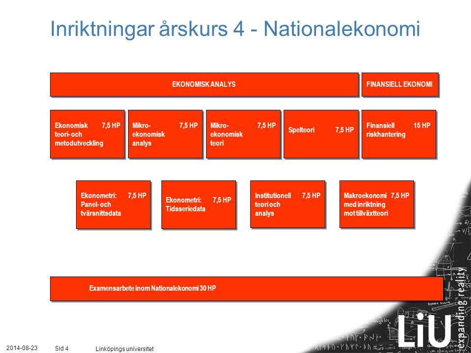 2014-08-23 Linköpings universitet Sid 4 4 Mikro-7,5 HP ekonomisk analys Mikro-7,5 HP ekonomisk analys Spelteori7,5 HP Mikro-7,5 HP ekonomisk teori Mikro-7,5 HP ekonomisk teori Ekonomisk7,5 HP teori- och metodutveckling Ekonomisk7,5 HP teori- och metodutveckling Ekonometri:7,5 HP Tidsseriedata Ekonometri:7,5 HP Tidsseriedata Ekonometri: 7,5 HP Panel- och tvärsnittsdata Ekonometri: 7,5 HP Panel- och tvärsnittsdata Examensarbete inom Nationalekonomi 30 HP EKONOMISK ANALYS FINANSIELL EKONOMI Inriktningar årskurs 4 - Nationalekonomi Makroekonomi7,5 HP med inriktning mot tillväxtteori Makroekonomi7,5 HP med inriktning mot tillväxtteori Finansiell15 HP riskhantering Finansiell15 HP riskhantering Institutionell7,5 HP teori och analys Institutionell7,5 HP teori och analys