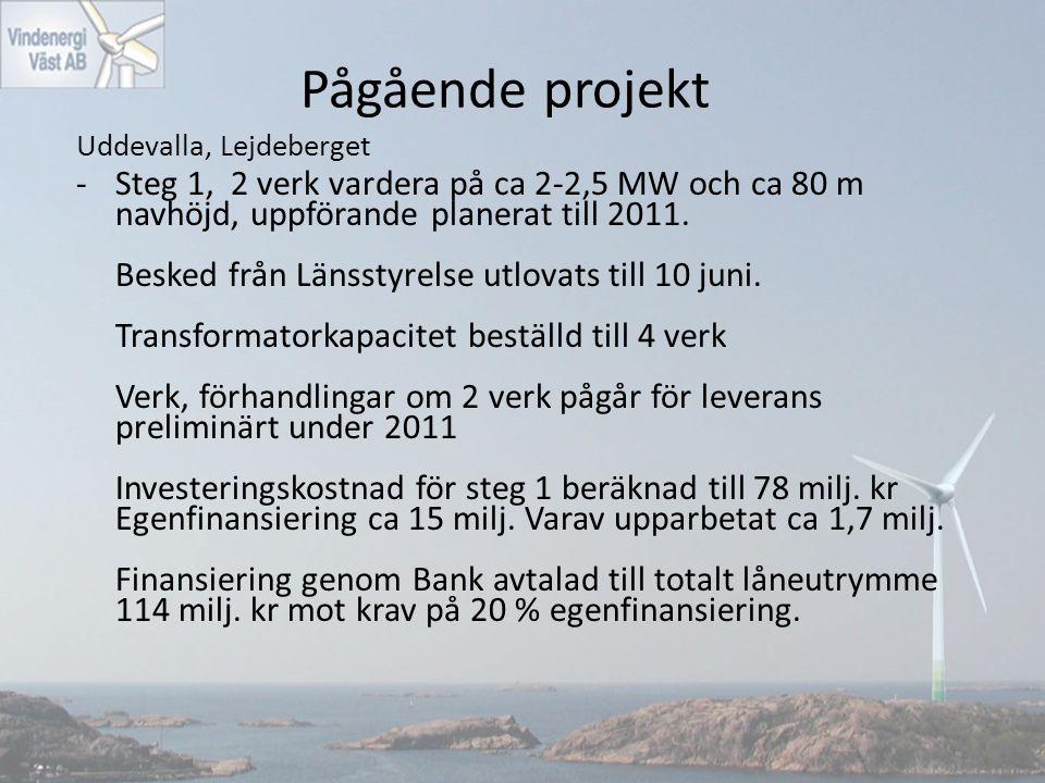 Pågående projekt Uddevalla, Lejdeberget -Steg 1, 2 verk vardera på ca 2-2,5 MW och ca 80 m navhöjd, uppförande planerat till 2011. Besked från Länssty