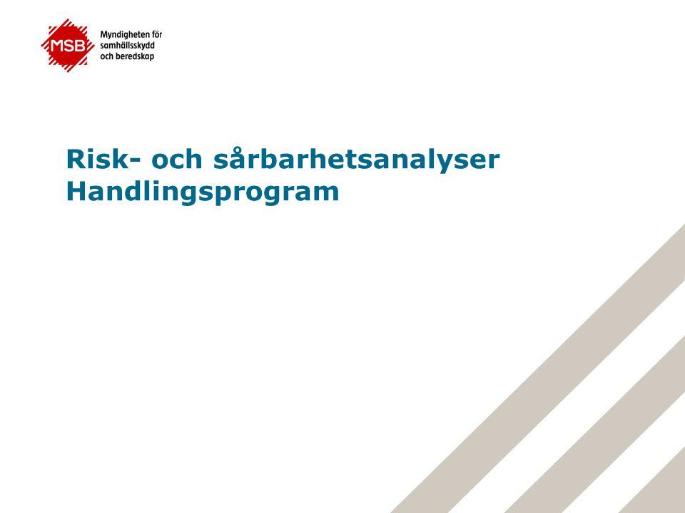 Myndigheten för samhällsskydd och beredskap Diskussion Hur ser ni på möjligheten att samordna arbetet med risk- och sårbarhetsanalyser utifrån flera olika lagstiftningars krav om riskanalyser?