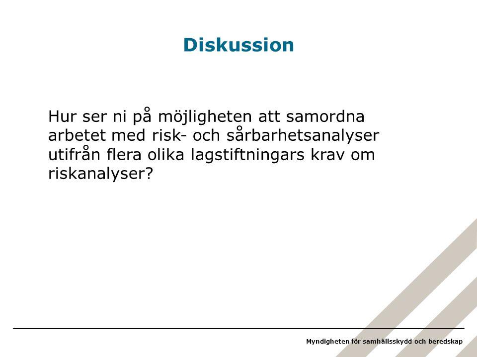 Myndigheten för samhällsskydd och beredskap Diskussion Hur ser ni på möjligheten att samordna arbetet med risk- och sårbarhetsanalyser utifrån flera o