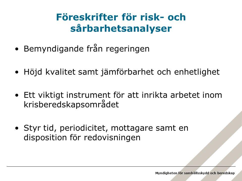 Myndigheten för samhällsskydd och beredskap Föreskrifter för risk- och sårbarhetsanalyser Bemyndigande från regeringen Höjd kvalitet samt jämförbarhet