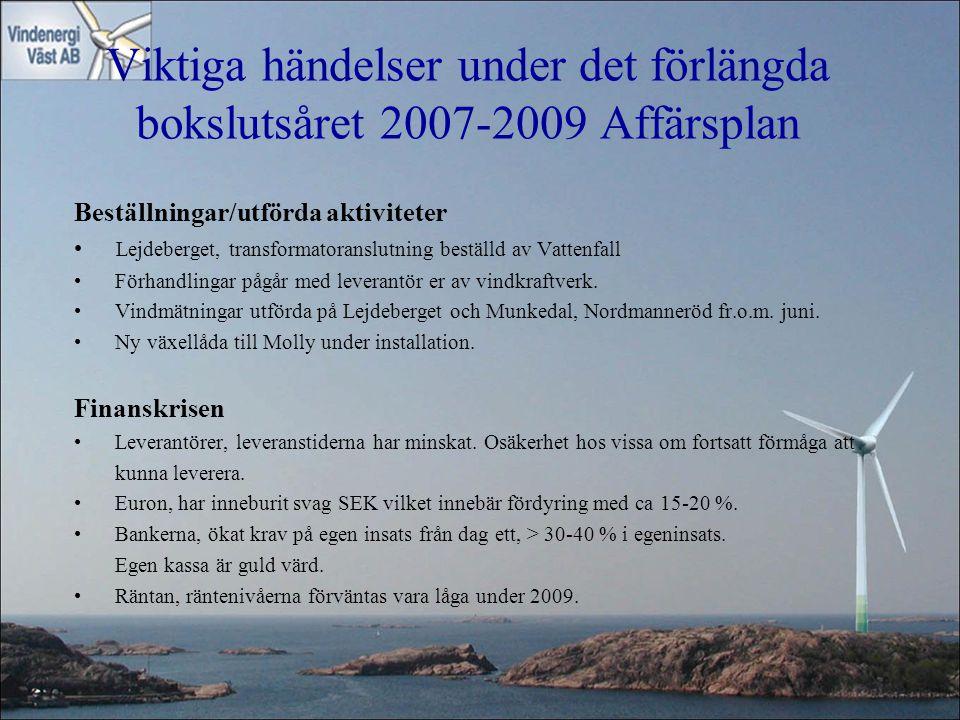 Viktiga händelser under det förlängda bokslutsåret 2007-2009 Affärsplan Beställningar/utförda aktiviteter Lejdeberget, transformatoranslutning beställ