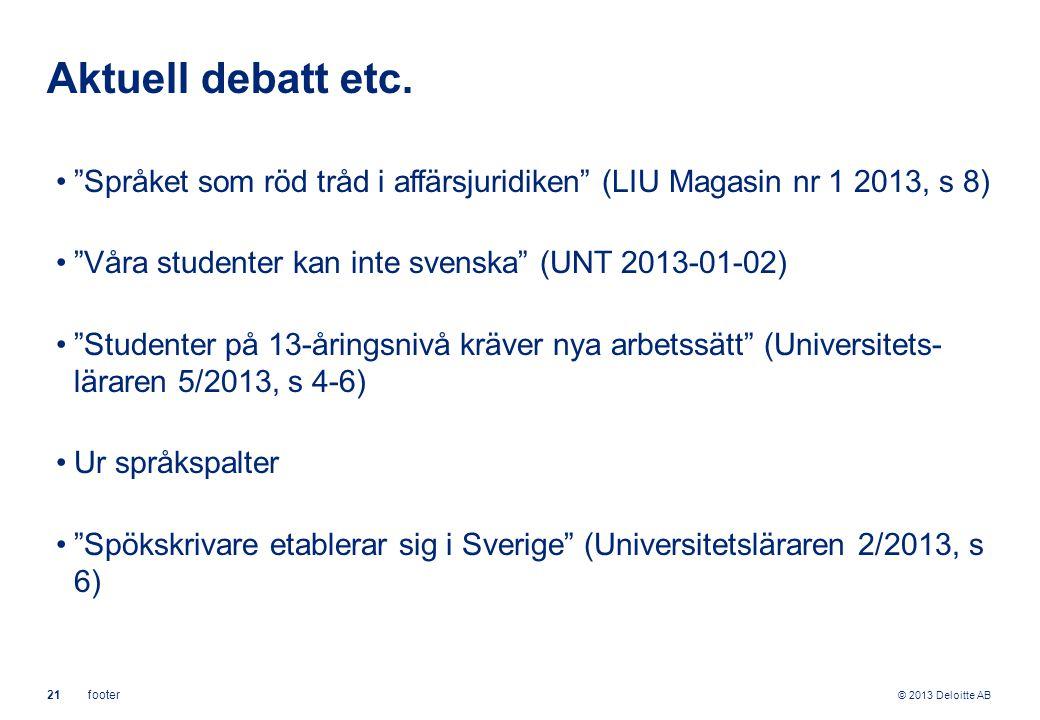 """© 2013 Deloitte AB 21footer Aktuell debatt etc. """"Språket som röd tråd i affärsjuridiken"""" (LIU Magasin nr 1 2013, s 8) """"Våra studenter kan inte svenska"""