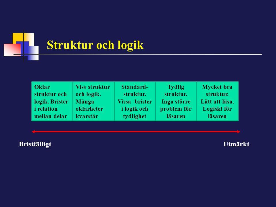 Struktur och logik Oklar struktur och logik. Brister i relation mellan delar Viss struktur och logik. Många oklarheter kvarstår Standard- struktur. Vi