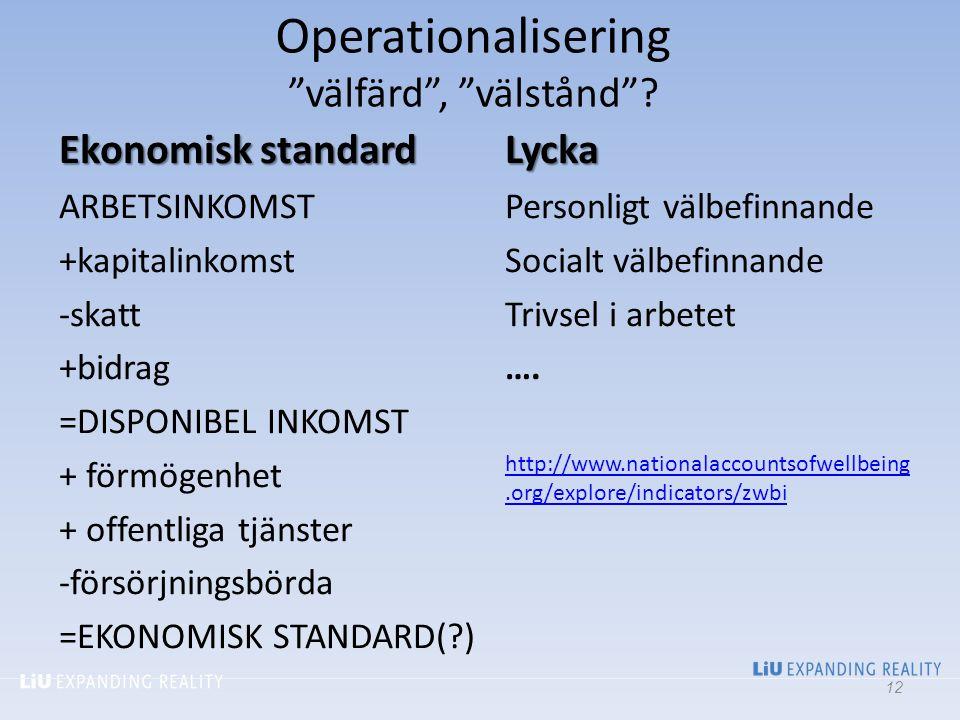 """Operationalisering """"välfärd"""", """"välstånd""""? Ekonomisk standard ARBETSINKOMST +kapitalinkomst -skatt +bidrag =DISPONIBEL INKOMST + förmögenhet + offentli"""