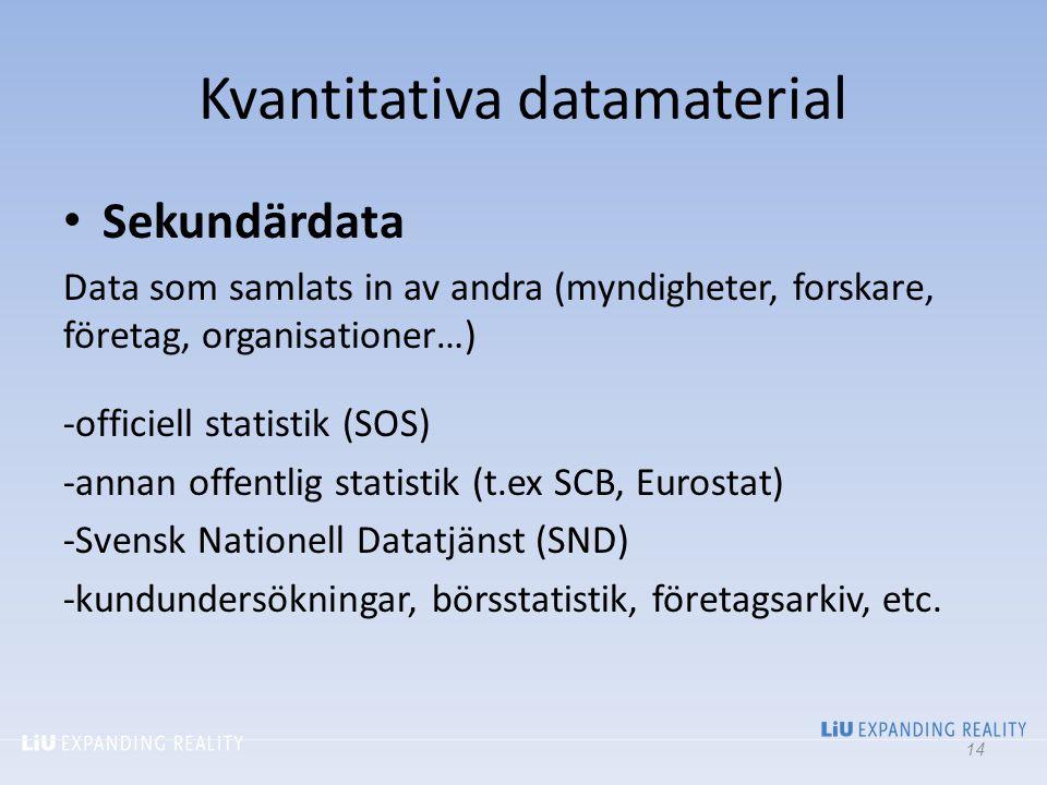 Kvantitativa datamaterial Sekundärdata Data som samlats in av andra (myndigheter, forskare, företag, organisationer…) -officiell statistik (SOS) -anna