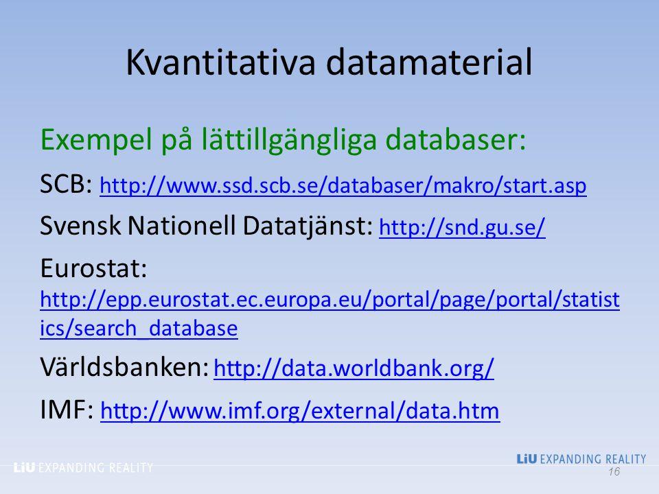 Kvantitativa datamaterial Exempel på lättillgängliga databaser: SCB: http://www.ssd.scb.se/databaser/makro/start.asp http://www.ssd.scb.se/databaser/m