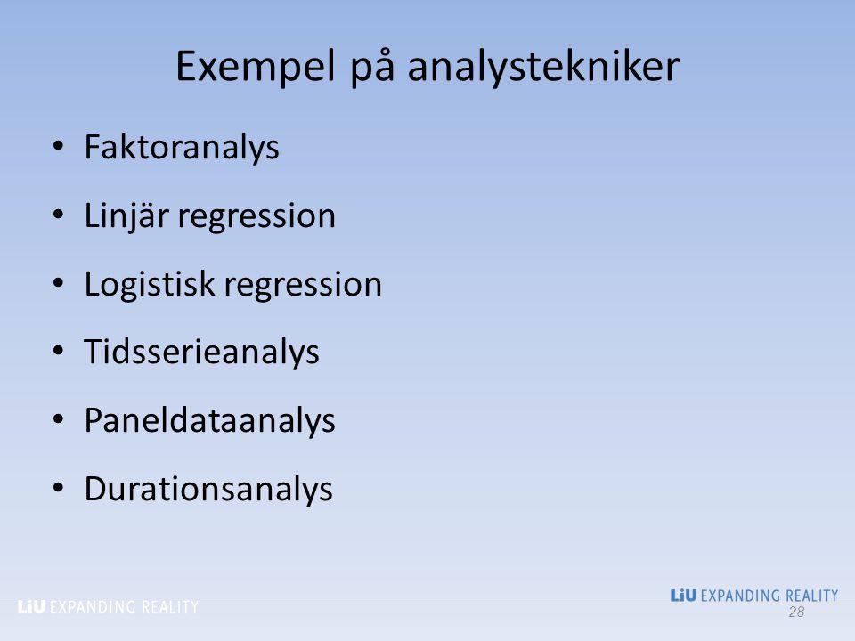 Exempel på analystekniker Faktoranalys Linjär regression Logistisk regression Tidsserieanalys Paneldataanalys Durationsanalys 28
